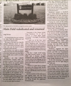 Full 1st article on Field - by staff - 10-16-15 HM Record 2